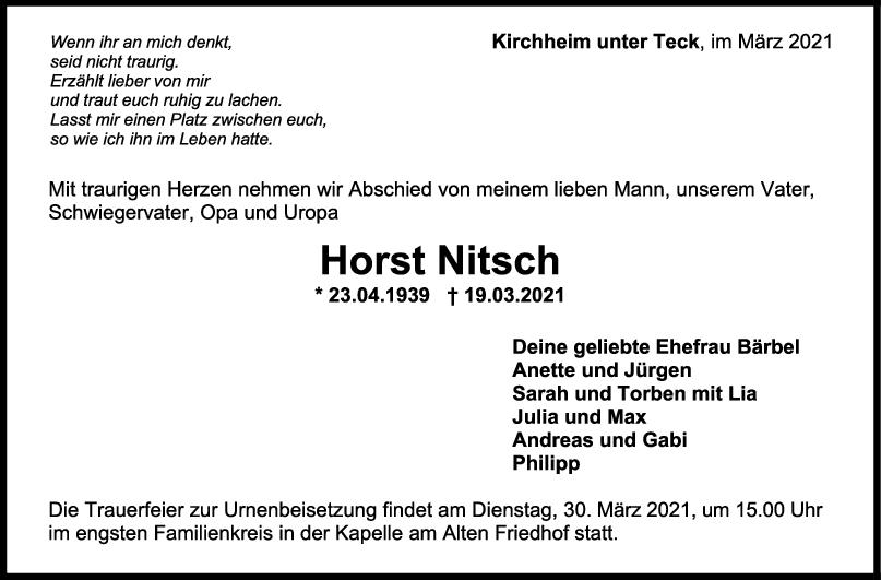 Trauer Horst Nitsch <br><p style=