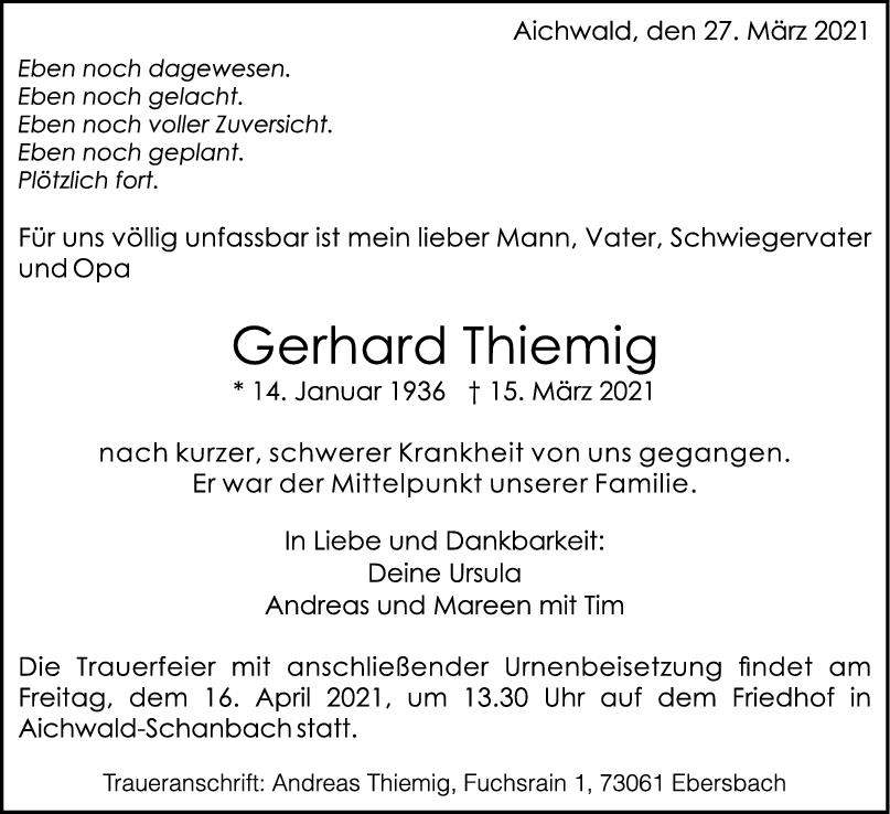 Trauer Gerhard Thiemig <br><p style=