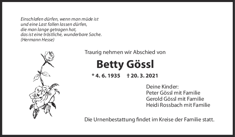 Trauer Betty Gössl <br><p style=