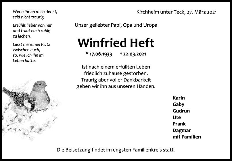Trauer Winfried Heft <br><p style=