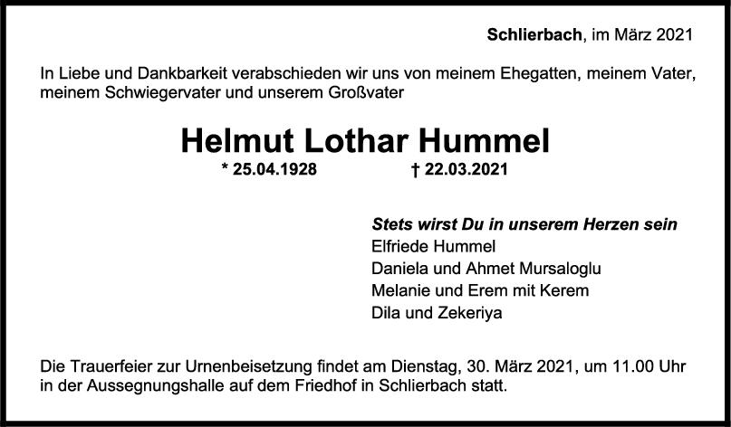 Trauer Helmut Lothar Hummel <br><p style=
