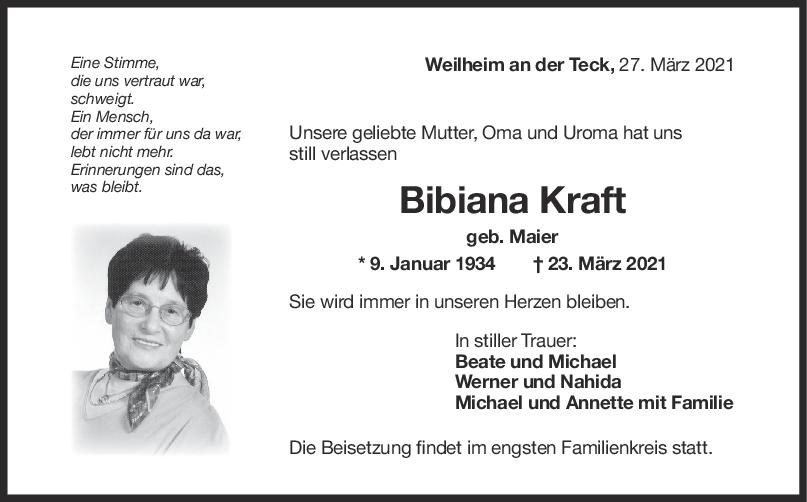 Trauer Bibiana Kraft <br><p style=