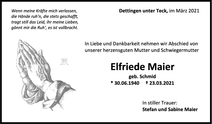 Trauer Elfriede Maier <br><p style=
