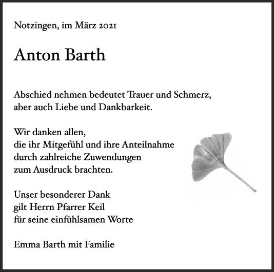 Danksagung Anton Barth <br><p style=