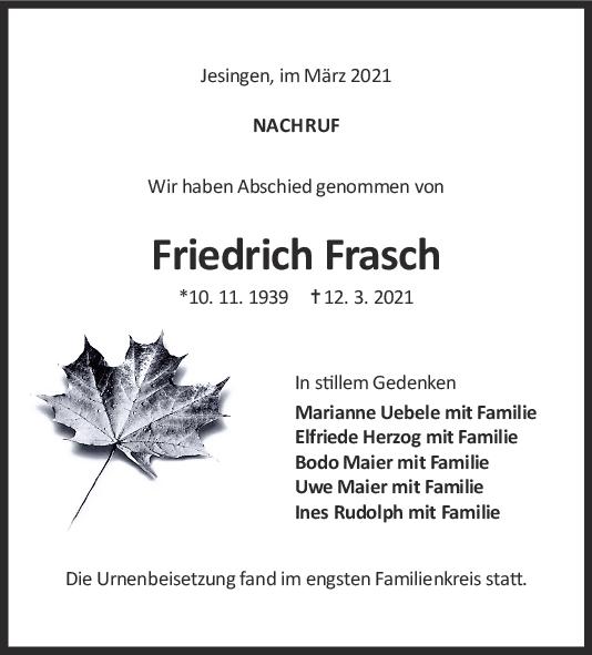 Trauer Friedrich Frasch <br><p style=