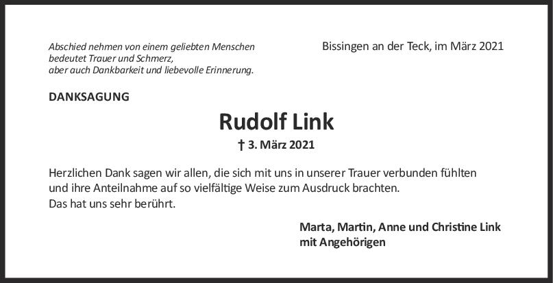 Danksagung Rudolf Link <br><p style=