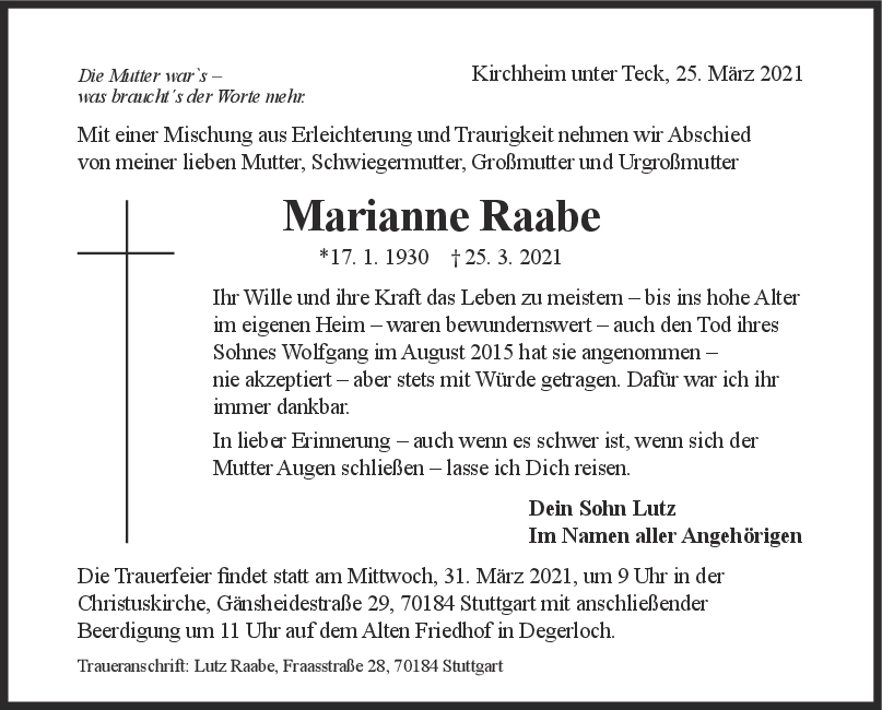 Trauer Marianne Raabe <br><p style=