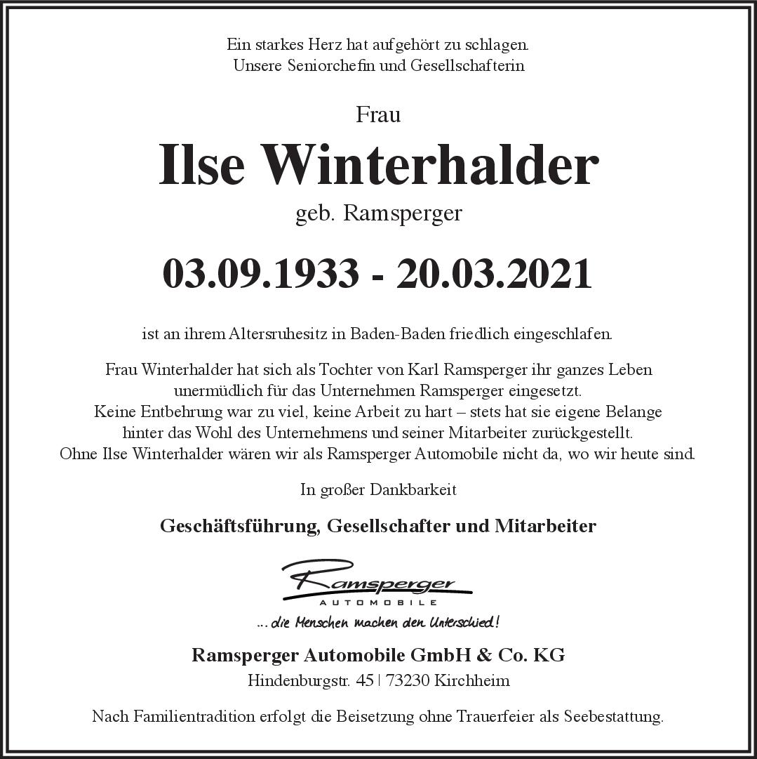 Trauer Ilse Winterhalder <br><p style=