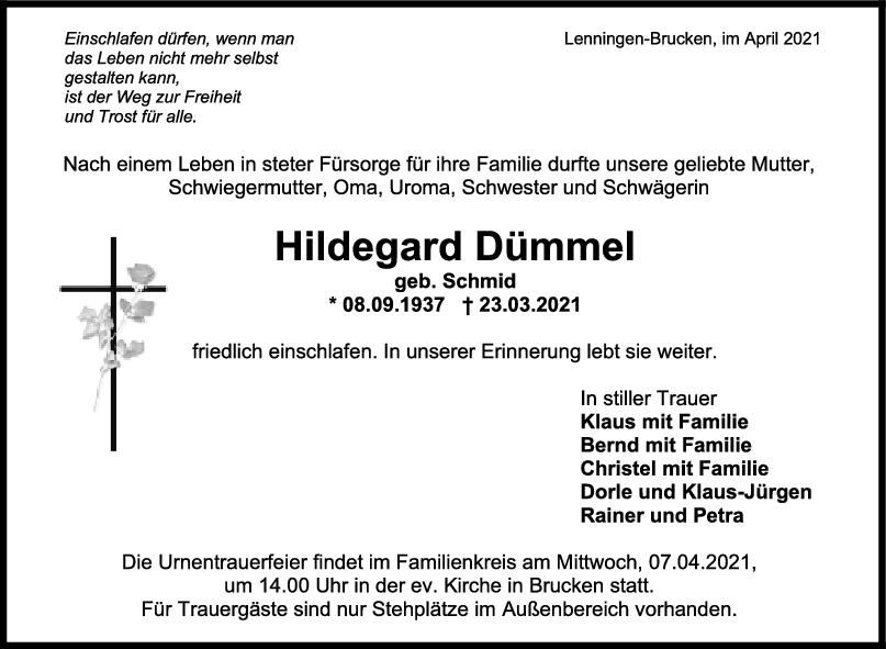 Trauer Hildegard Dümmel <br><p style=