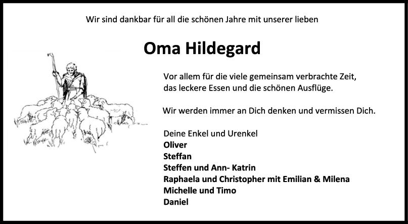 Nachruf Oma Hildegard (Dümmel) <br><p style=