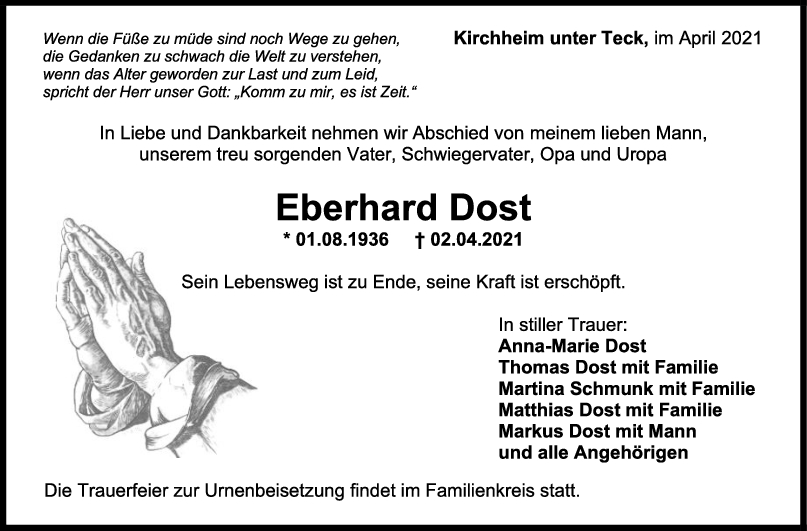 Trauer Eberhard Dost <br><p style=