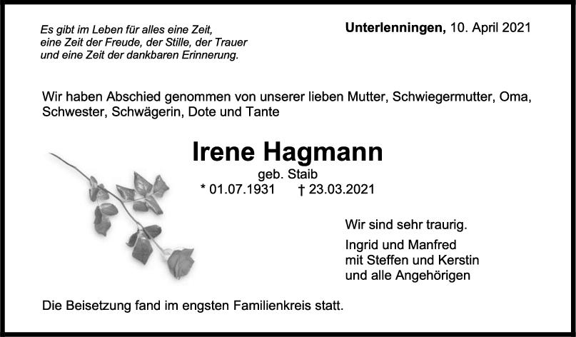 Trauer Irene Hagmann <br><p style=