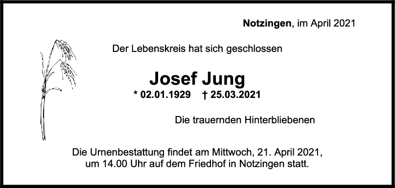 Trauer Josef Jung <br><p style=