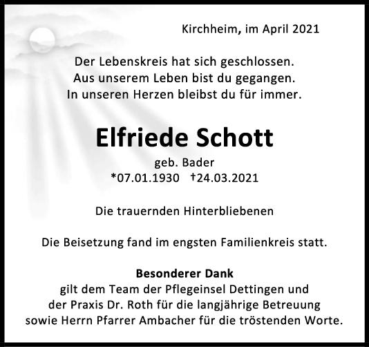 Trauer Elfriede Schott <br><p style=