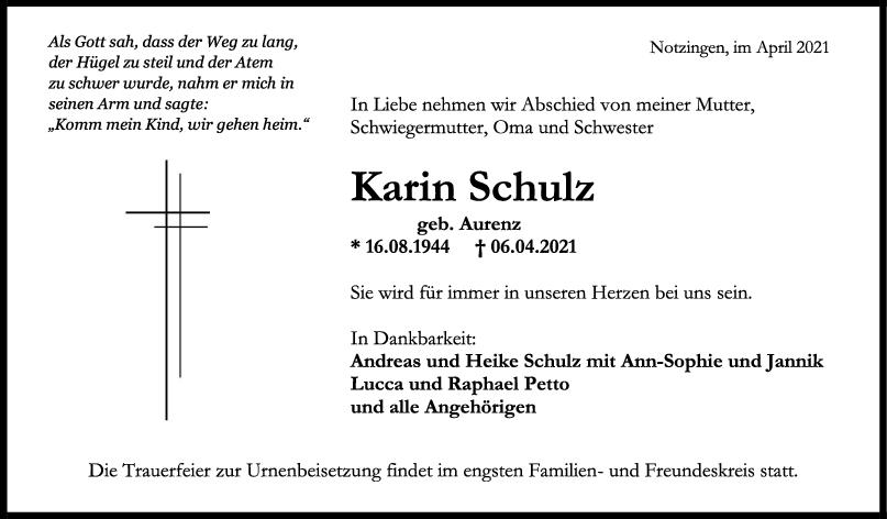 Trauer Karin Schulz <br><p style=