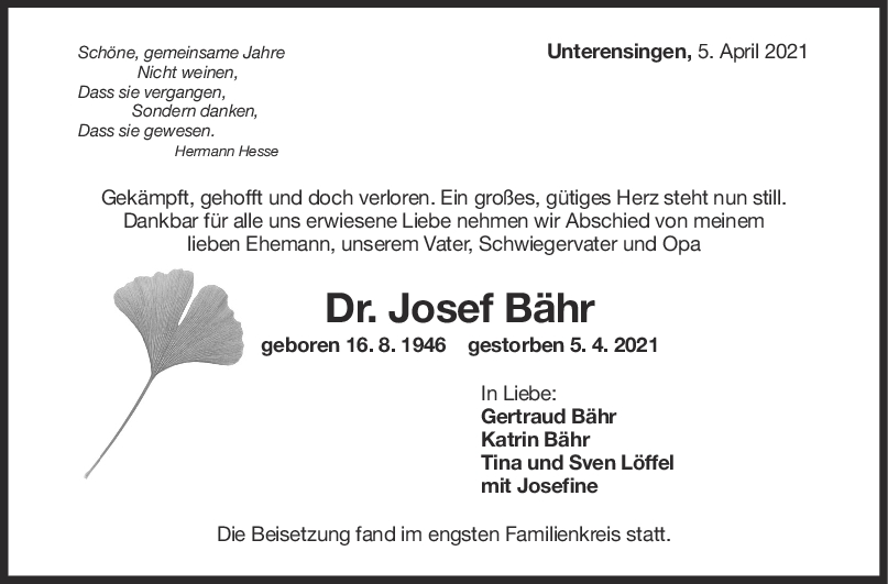 Trauer Dr. Josef Bähr <br><p style=