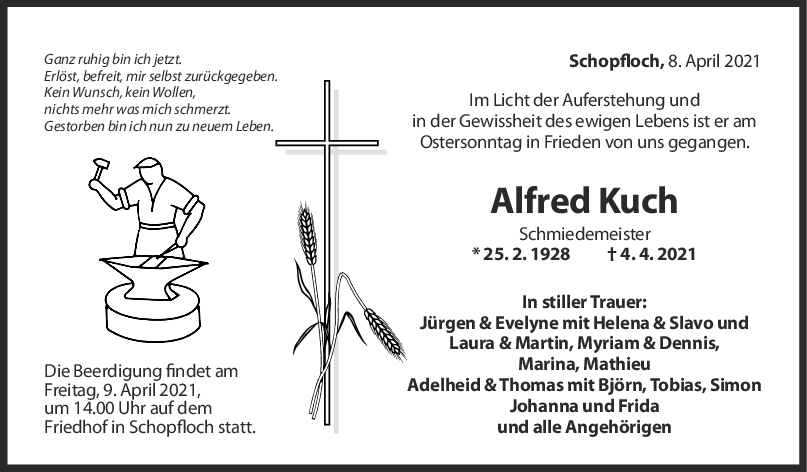Trauer Alfred Kuch <br><p style=