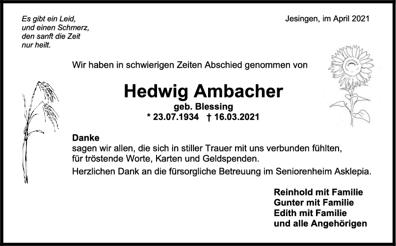 Danksagung Hedwig Ambacher <br><p style=