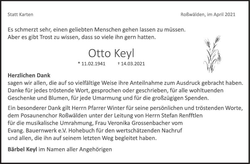 Danksagung Otto Keyl <br><p style=