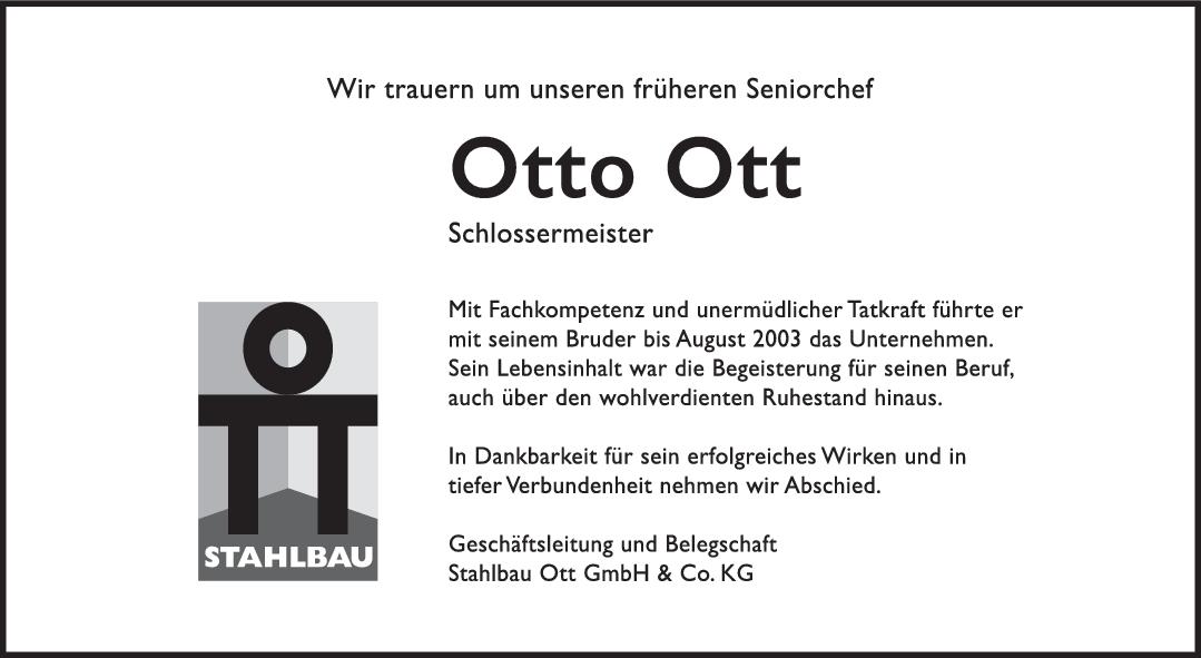 Nachruf Otto Ott <br><p style=