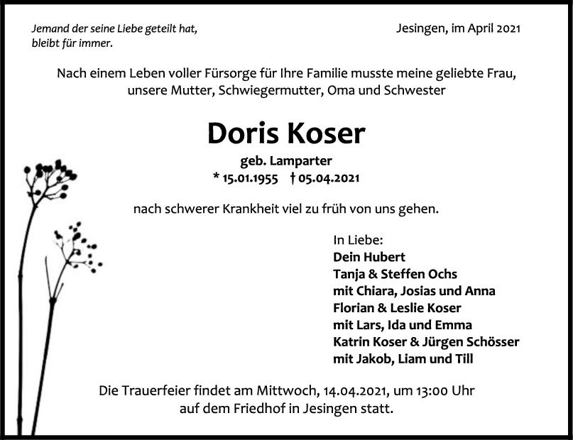 Trauer Doris Koser <br><p style=