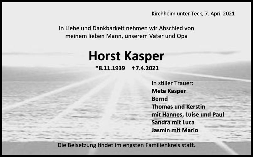 Trauer Horst Kasper <br><p style=