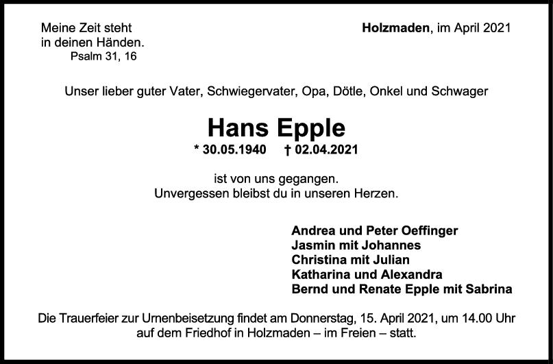 Trauer Hans Epple <br><p style=