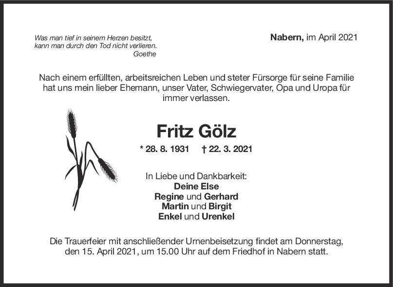 Trauer Friedrich Gölz <br><p style=