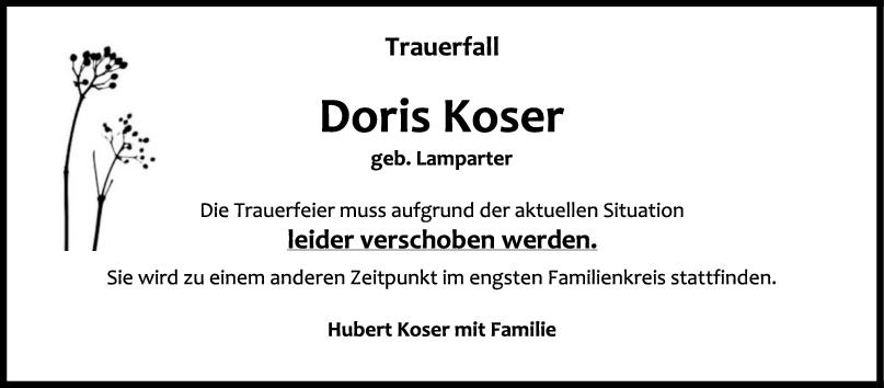 Trauer Doris Koser Änderung <br><p style=