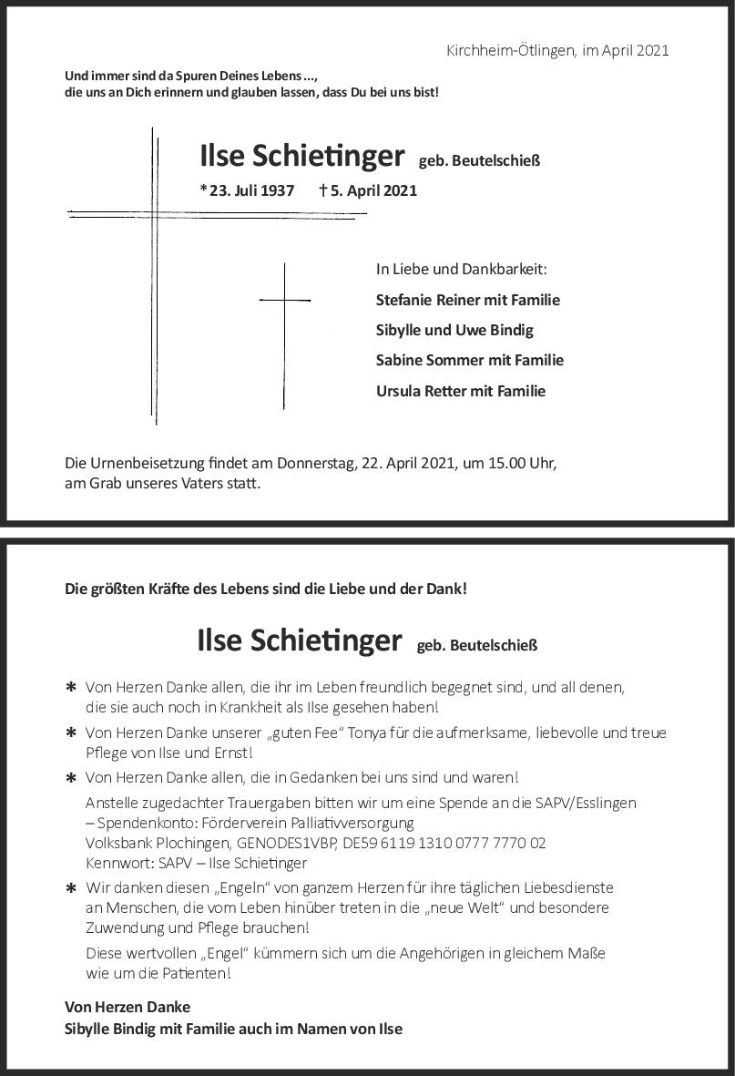 Trauer Ilse Schietinger <br><p style=