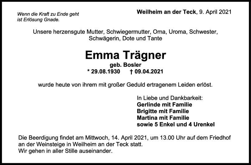 Trauer Emma Trägner <br><p style=