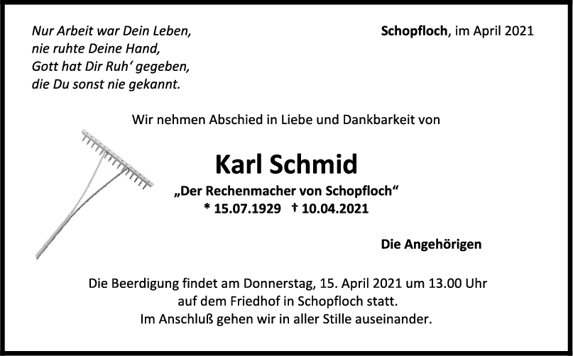 Trauer Karl Schmid <br><p style=