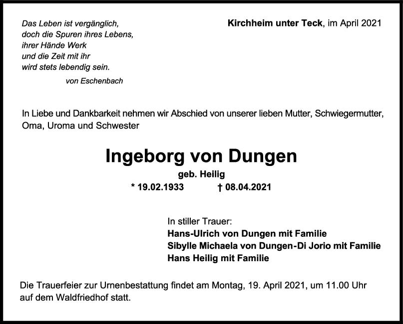 Trauer Ingeborg von Dungen <br><p style=