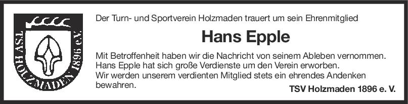 Nachruf Hans Epple <br><p style=