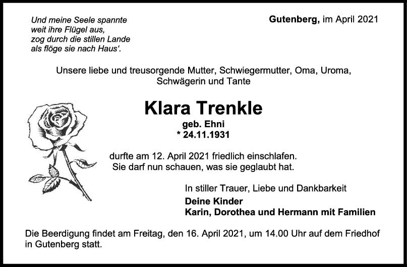 Trauer Klara Trenkle <br><p style=