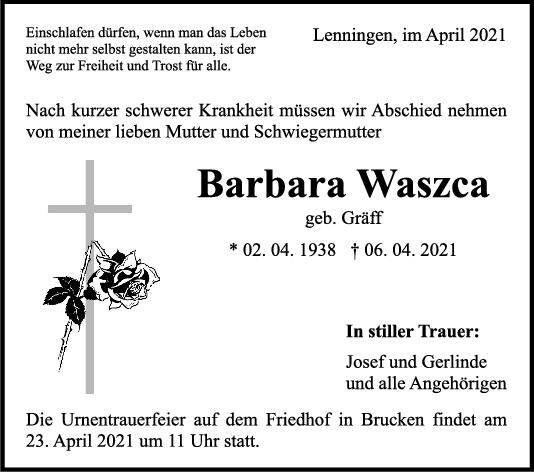 Trauer Barbara Waszca <br><p style=