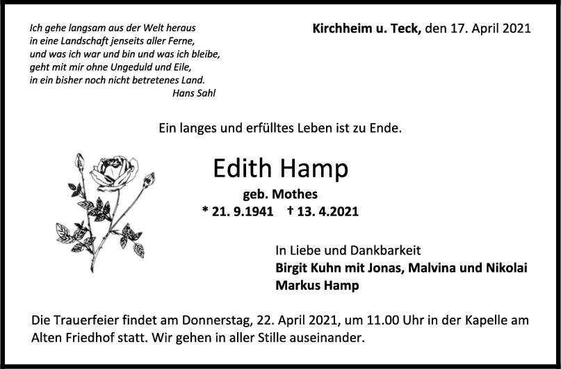 Trauer Edith Hamp <br><p style=