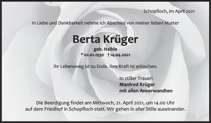 Trauer Berta Krüger <br><p style=