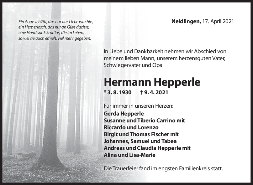 Trauer Hermann Hepperle <br><p style=