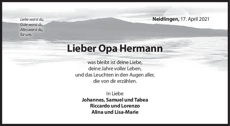 Nachruf Opa Hermann <br><p style=