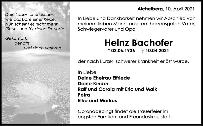 Trauer Heinz Bachofer <br><p style=