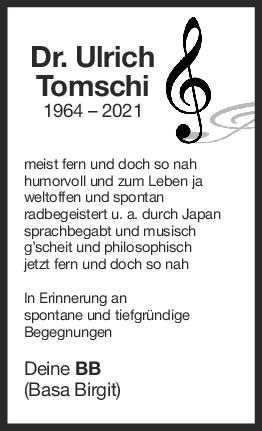 Nachruf Ulrich Tomschi <br><p style=