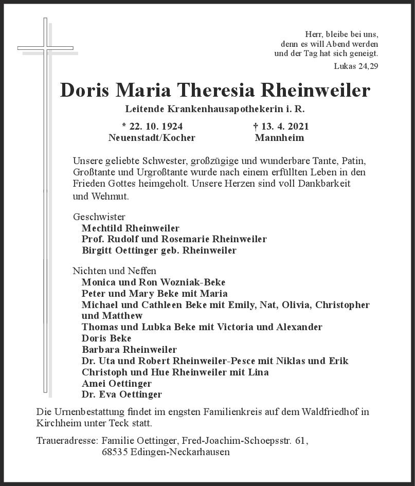 Trauer Doris Maria Theresia Rheinweiler <br><p style=