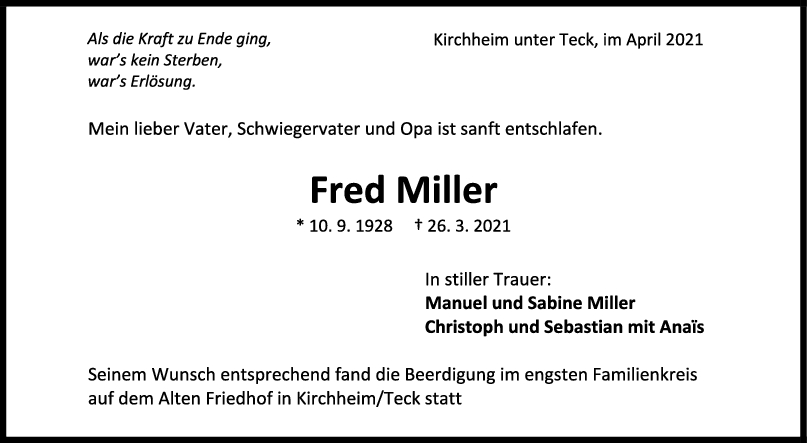 Trauer Fred Miller <br><p style=