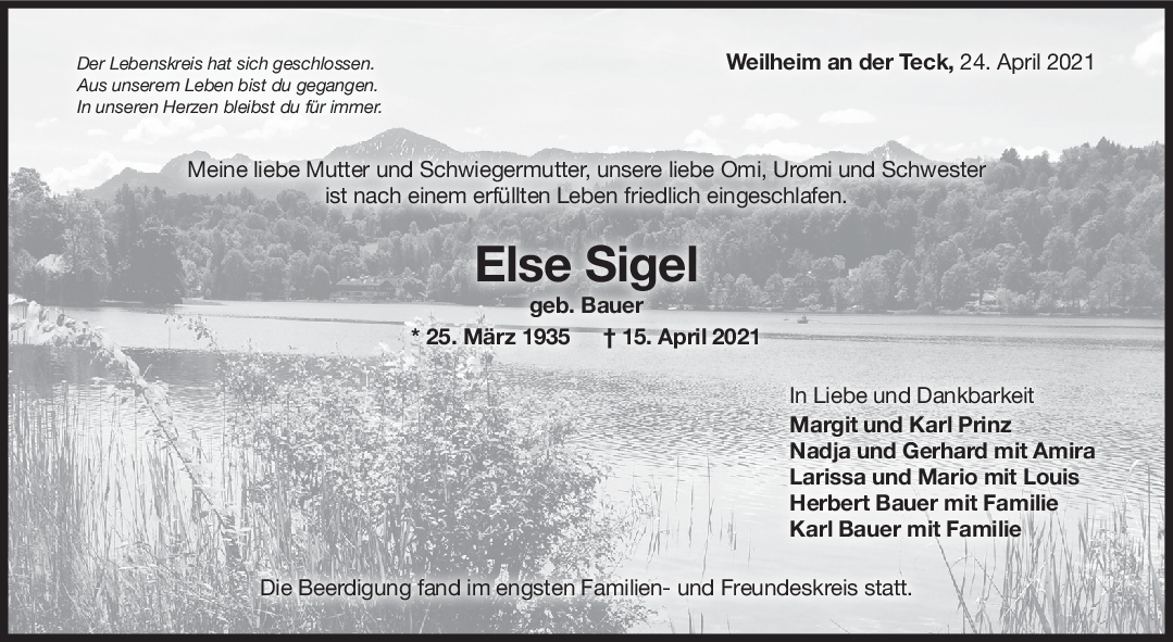 Trauer Else Sigel <br><p style=