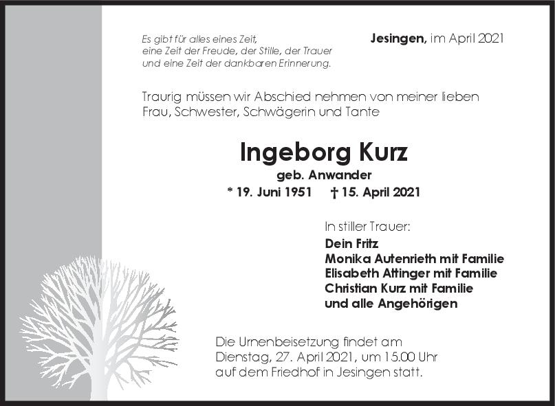 Trauer Ingeborg Kurz <br><p style=