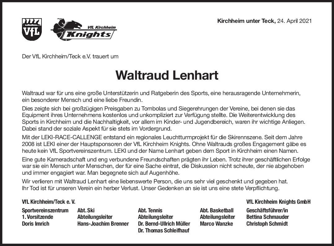 Nachruf Waltraud Lenhart <br><p style=