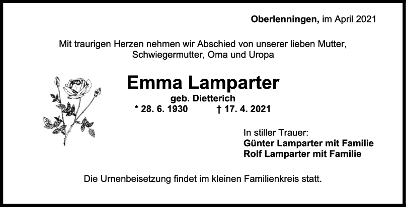 Trauer Emma Lamparter <br><p style=