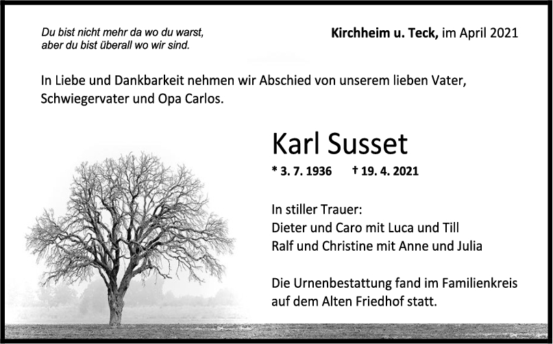 Trauer Karl Sussel <br><p style=