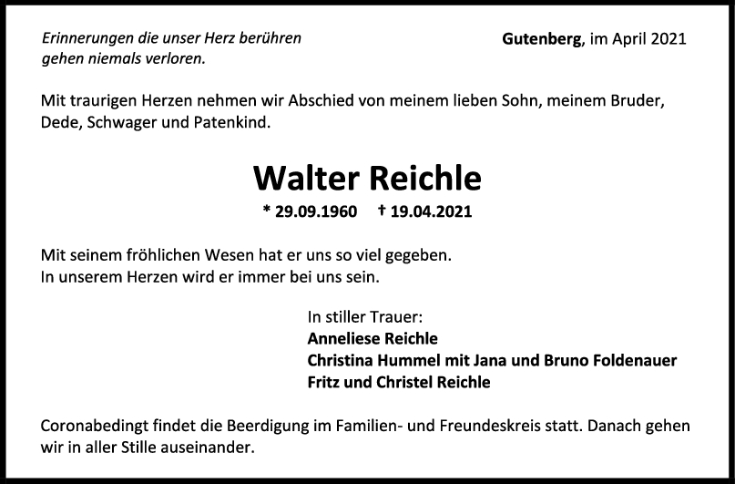Trauer Walter Reichle <br><p style=